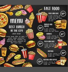 fast food restaurant menu sketch poster vector image vector image