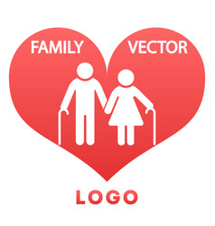 grandparents in heart happy family logo design vector image