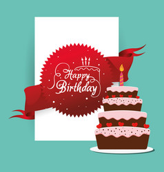happy birthday cake card greeting event vector image