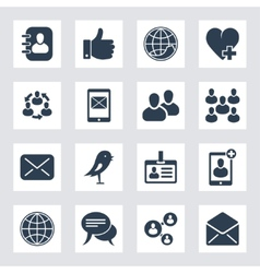 set of social network and media icons vector image