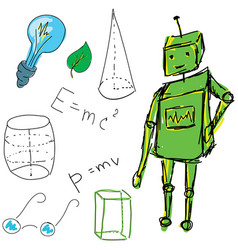 Drawn picture with physics stuff and robot vector