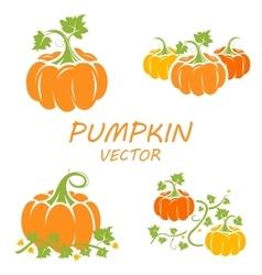 flat pumpkin icons set vector image