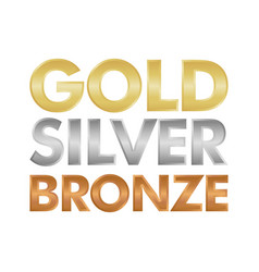gold silver and bronze letter set vector image