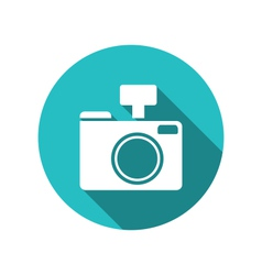 Icon photo camera white cuted on blue round vector image vector image