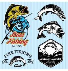 set of patterns with emblems for fishing with pike vector image