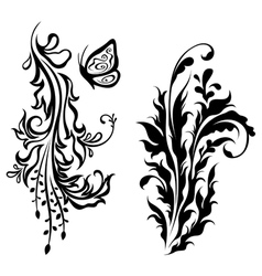 Vertical floral decorations vector image vector image