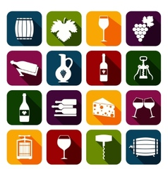 Wine icons set flat vector image vector image