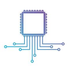 cpu microprocessor icon in color gradient vector image