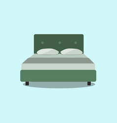 double bed web icon isolated on light green vector image vector image