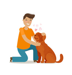 happy young man with dog pet pooch doggie vector image vector image