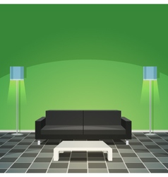 Modern Living Room - Green vector image