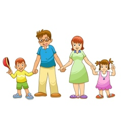 My family holding hands cartoon vector image vector image