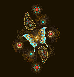 Pattern with turquoise butterfly vector