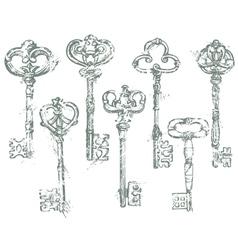 Set of Antique Vintage Keys in grunge style vector image vector image