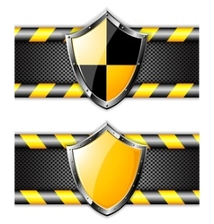 Set of gold shields over steel dotted backgrounds vector image