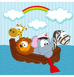 animals in the boat vector image vector image