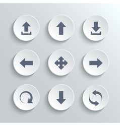 Arrows icon set - white round buttons vector