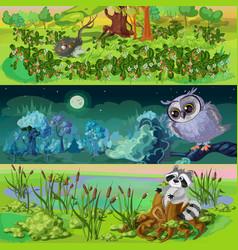 cartoon animals banners set vector image vector image