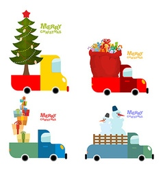 Transport set for Merry Christmas Machine carries vector image vector image