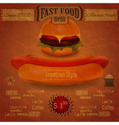 vintage fast food menu - the food on crumpled pape vector image