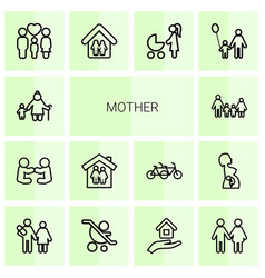 14 mother icons vector
