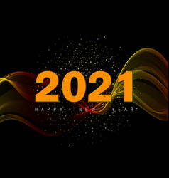 2021 new year abstract gold glitters and gold wave vector image