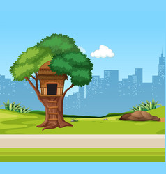 a tree house in the park vector image