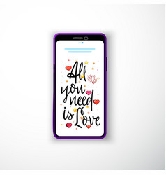 all you need is love smartphone flat style as a vector image