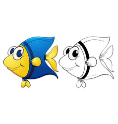 Animal outline for cute fish vector