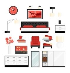 Bedroom decorative icon set vector