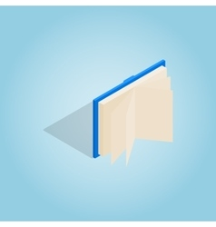 Blue open book icon isometric 3d style vector