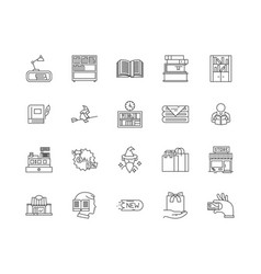 book shop line icons signs set outline vector image