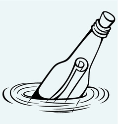 Bottle with a message in water vector image