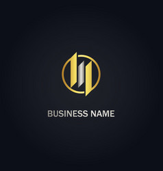 business chart round progress gold logo vector image