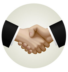 Business partnership handshake in circle vector