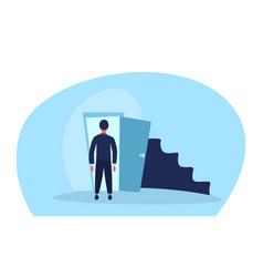 Businessman standing open door entrance business vector