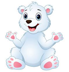 cartoon funny polar bear sitting vector image