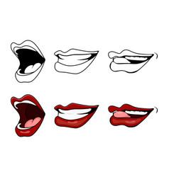 cartoon lips smile set isolated on white vector image