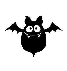 Cartoon Style Smiling Bat on White Background vector image