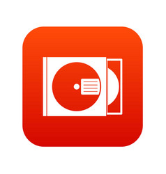 cd box with disc icon digital red vector image