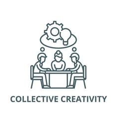 collective creativity line icon vector image