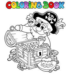 Coloring book with pirate theme 8 vector
