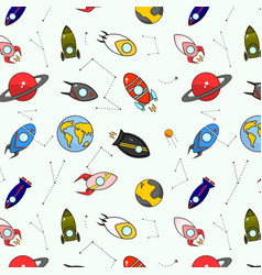 cosmic astronauts cartoon pattern cute hand-drawn vector image