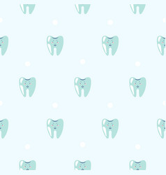 cute teeth baby dental blue pattern background vector image