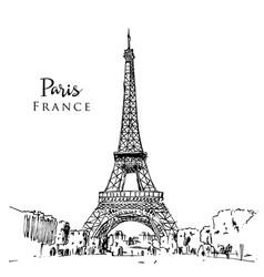 drawing sketch eiffel tower in paris vector image