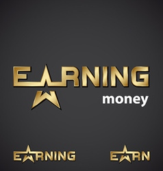 Earning golden star inscription icon vector