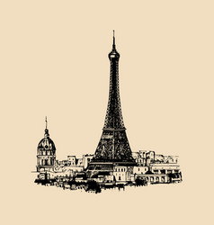 Eiffel tower hand sketched vector