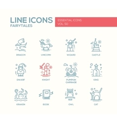 Fairy Tales- flat design line icons set vector