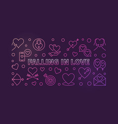 falling in love modern colored outline vector image