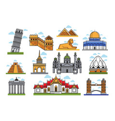 Famous world amazing architectural landmarks vector